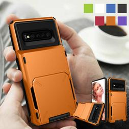 Rugged Armor Phone Case with Flip Card Holder For Samsung Ga