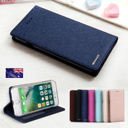 For Samsung Galaxy S10 9 8 7 SILK Leather Magnetic Flip Cove