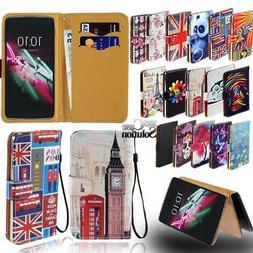 For Various Alcatel idol Phones - Leather Wallet Card Stand